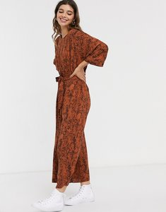 Read more about Asos design lounge tie waist jumpsuit in animal print-multi