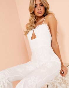Read more about Asos design luxe cupped flared jumpsuit in white lace