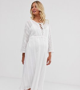 Read more about Asos design maternity lace insert midi dress with lace up front-white