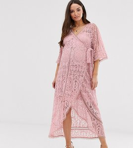 Read more about Asos design maternity lace wrap midi dress-pink