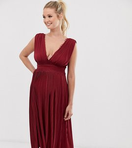 Read more about Asos design maternity premium lace insert pleated midi dress-red