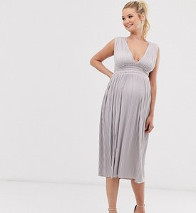 Read more about Asos design maternity premium lace insert pleated midi dress-pink