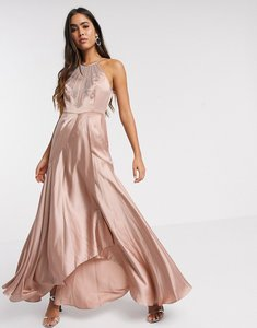 Read more about Asos design maxi dress in satin with embellished neck in rose gold-neutral