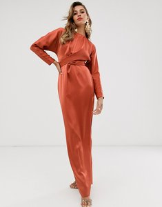 Read more about Asos design maxi dress with batwing sleeve and wrap waist in satin-orange