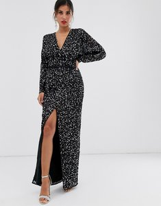Read more about Asos design maxi dress with batwing sleeve and wrap waist in scatter sequin-black
