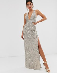 Read more about Asos design maxi dress with cut outs in heavy embellishment-beige