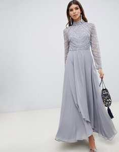 Read more about Asos design maxi dress with long sleeve embellished bodice-grey