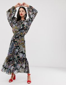 Read more about Asos design maxi dress with shirred waist in grunge ditsy floral print-multi