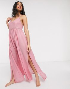 Read more about Asos design maxi lace insert beach dress in pink