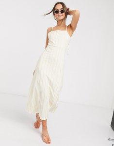 Read more about Asos design maxi square neck dress with tie straps in natural stripe-multi