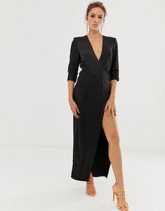 Read more about Asos design maxi tux dress in crepe-black