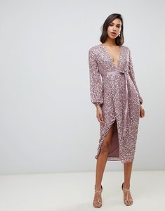 Read more about Asos design midi dress in allover scatter sequin with ribbon tie waist-pink