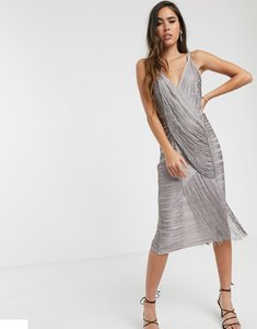 Read more about Asos design midi dress in draped fringe-grey