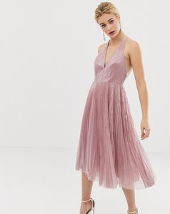 Read more about Asos design midi dress in pleated sequin-beige