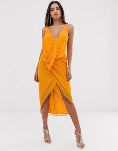Read more about Asos design midi dress in soft chiffon drape with wrap neck-multi
