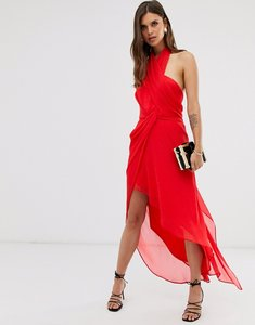 Read more about Asos design midi dress in soft chiffon drape with wrap neck-red