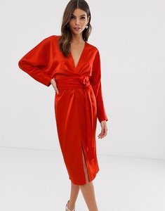 Read more about Asos design midi dress with batwing sleeve and wrap waist in satin-red