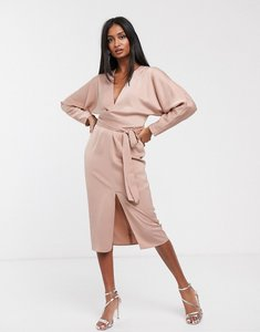 Read more about Asos design midi dress with batwing sleeve and wrap waist in satin-white