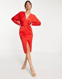 Read more about Asos design midi dress with batwing sleeve and wrap waist in satinin red