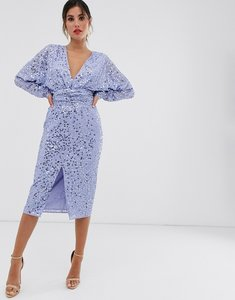 Read more about Asos design midi dress with batwing sleeve and wrap waist in scatter sequin-blue
