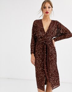 Read more about Asos design midi dress with batwing sleeve and wrap waist in scatter sequin-brown