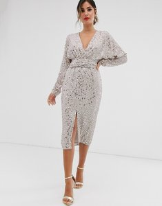 Read more about Asos design midi dress with batwing sleeve and wrap waist in scatter sequin-multi