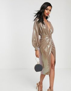 Read more about Asos design midi dress with blouson sleeve and belt in irridescent sheet sequin-multi