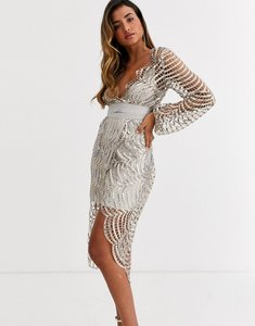 Read more about Asos design midi dress with blouson sleeve and tie in embellished lace-grey