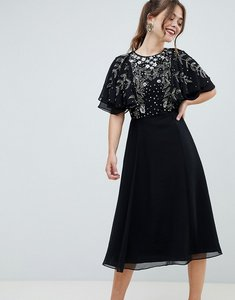 Read more about Asos design midi dress with flutter sleeve and pretty floral embellishment-black