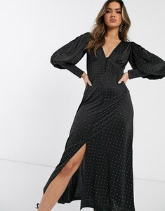 Read more about Asos design midi dress with hot fix embellishment-black