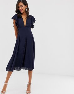 Read more about Asos design midi dress with lace godet panels-navy