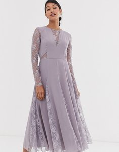 Read more about Asos design midi dress with long sleeve and lace panelled bodice-purple