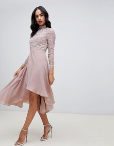 Read more about Asos design midi dress with long sleeve embellished bodice-pink