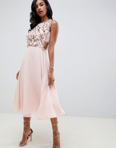 Read more about Asos design midi dress with pinny bodice in 3d floral embellishment-pink