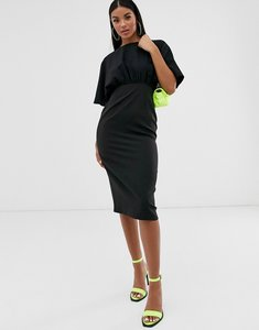 Read more about Asos design midi pencil dress with button detail and angel sleeves-black