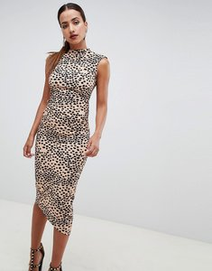 Read more about Asos design midi pencil dress with tuck detail in animal print-multi