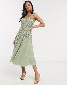 Read more about Asos design midi skater dress with lace trim and delicate leaf embellishment-green