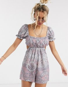 Read more about Asos design milkmaid beach playsuit in paisley print-multi