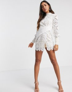 Read more about Asos design mini dress in cut work lace in white