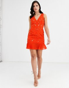 Read more about Asos design mini dress in cutwork embroidery with pleated hem-red