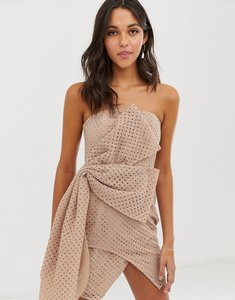 Read more about Asos design mini dress in structured broderie with hitched hem dress-multi