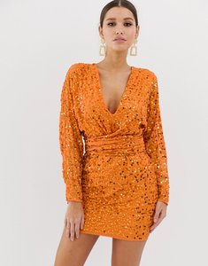 Read more about Asos design mini dress with batwing sleeve and wrap waist in orange scatter sequin-multi