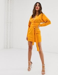 Read more about Asos design mini dress with batwing sleeve and wrap waist in satin-gold