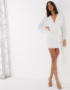 Read more about Asos design mini dress with batwing sleeve and wrap waist in white scatter sequin-multi