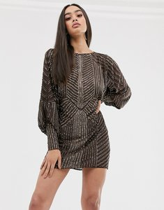 Read more about Asos design mini dress with blouson sleeve in linear embellishment-brown