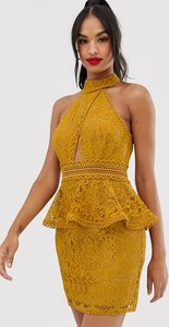 Read more about Asos design mini dress with high neck and lace trim with peplum-gold