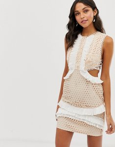 Read more about Asos design mini dress with in lace with frill trim-multi
