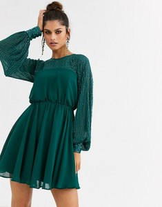 Read more about Asos design mini dress with linear yoke embellishment-green