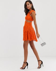 Read more about Asos design mini dress with trumpet hem in cutwork lace-multi