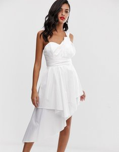 Read more about Asos design mini prom dress in cotton sateen-white
